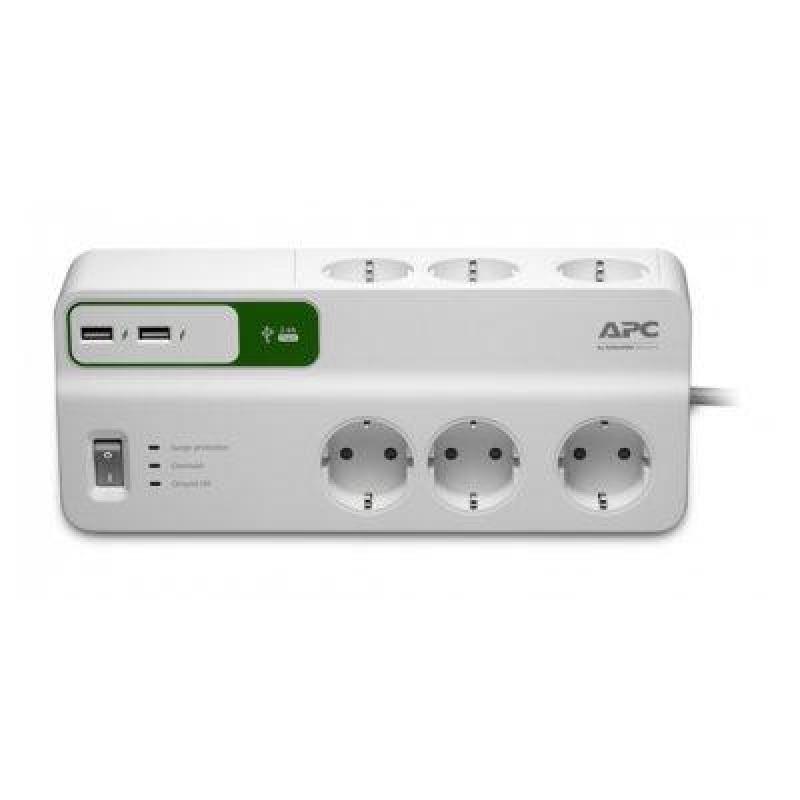 APC PM6U-GR surge protector 6 AC outlet(s) 230 V 2 m White