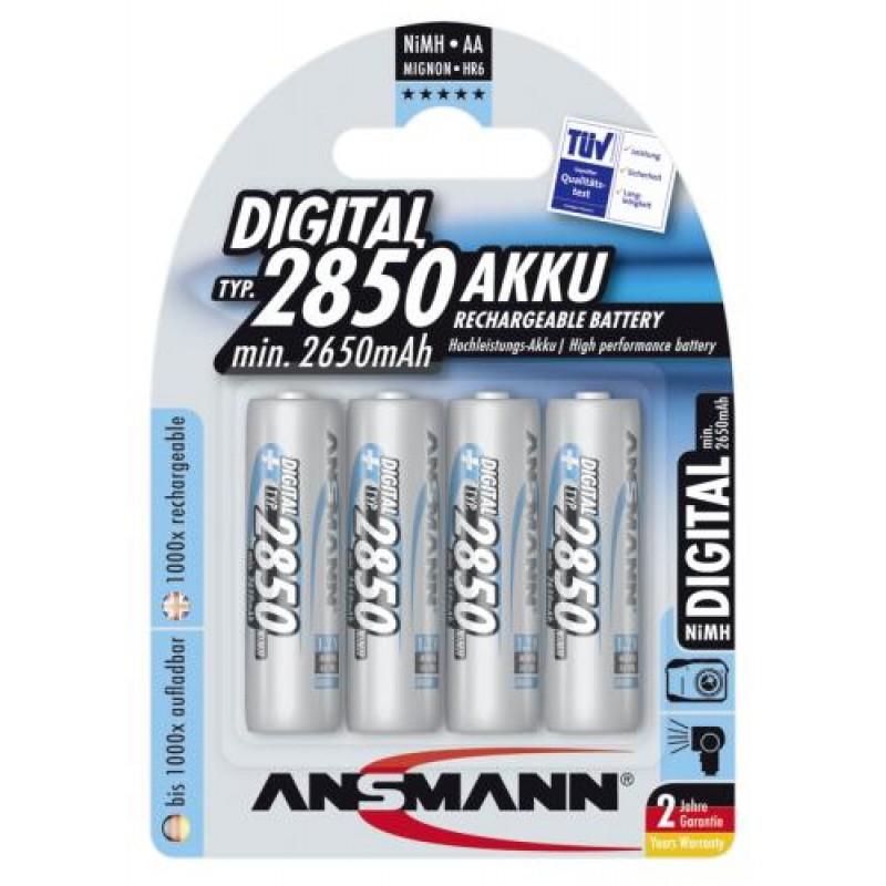1x4 Ansmann NiMH rech battery 2850 Mignon AA 2650 mAh DIGITAL