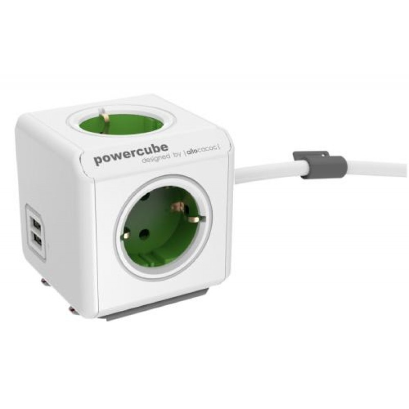 Allocacoc 1406GN/DEEUPC power extension 1.5 m 4 AC outlet(s) Green,White