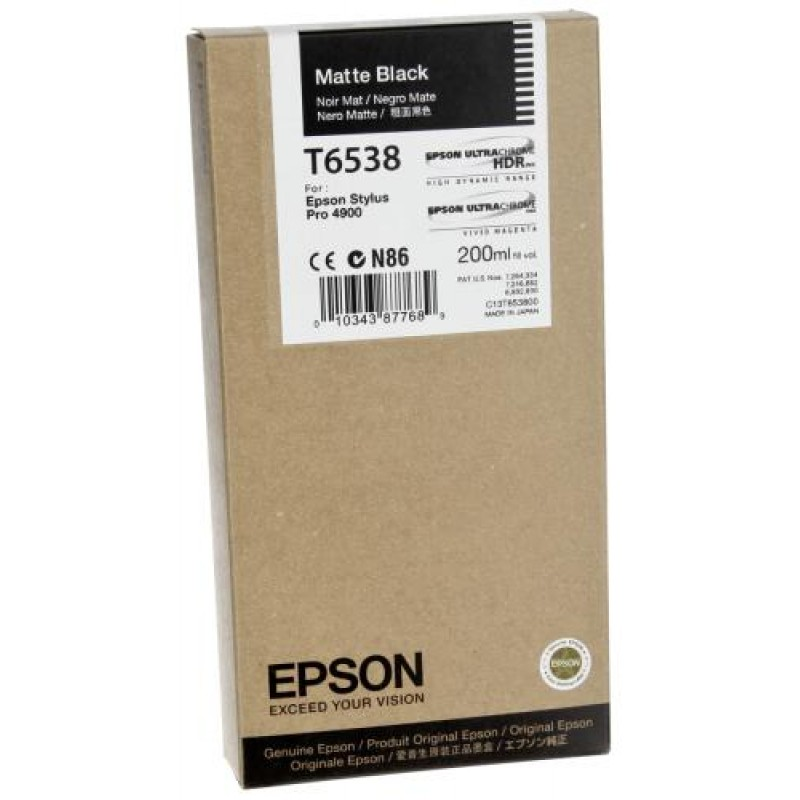 Epson ink cartridge matte black T 653 200 ml T 6538