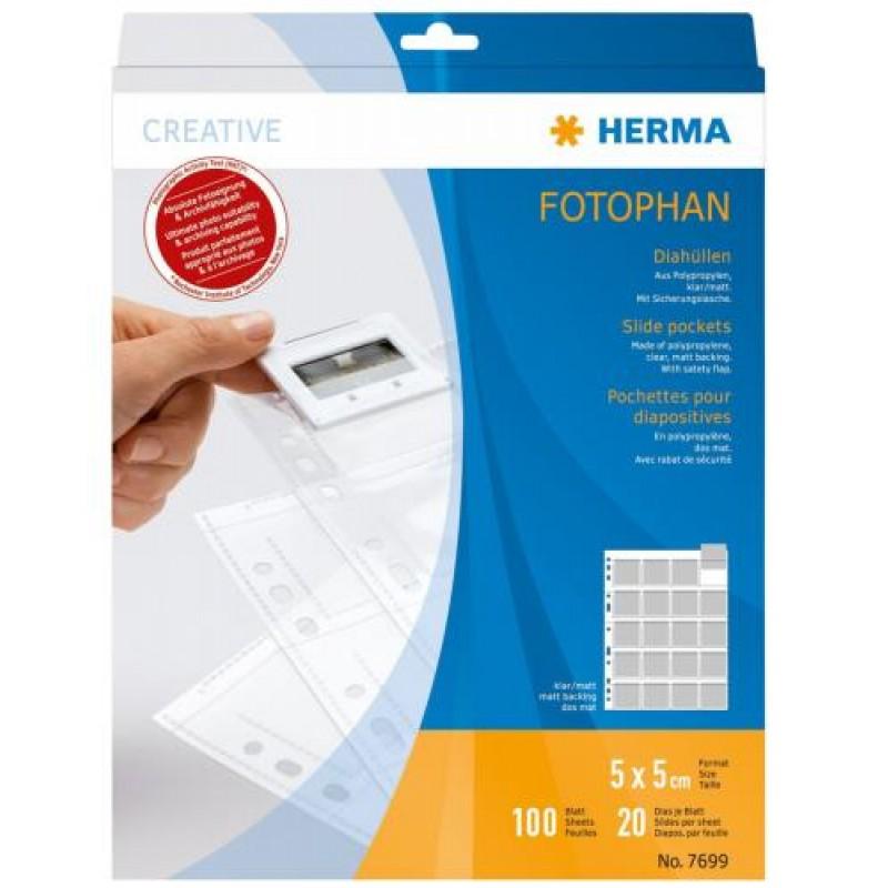 HERMA Slide pockets for 35 mm slides for thin frames film clear/matt 100 pockets Transparent