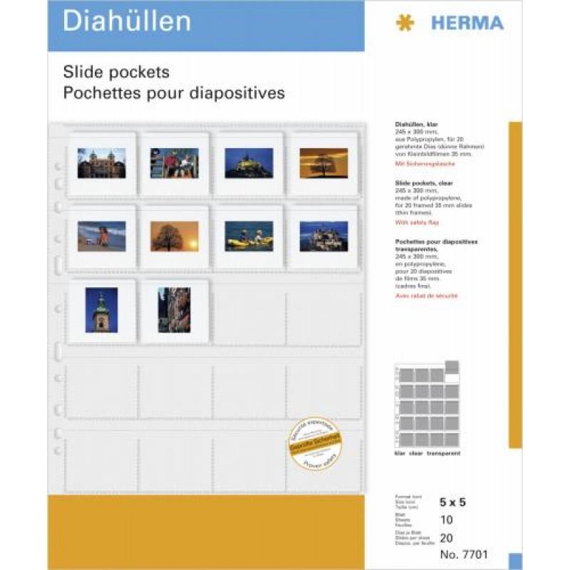 HERMA Slide pockets for 35 mm slides film clear 10 pockets Transparent
