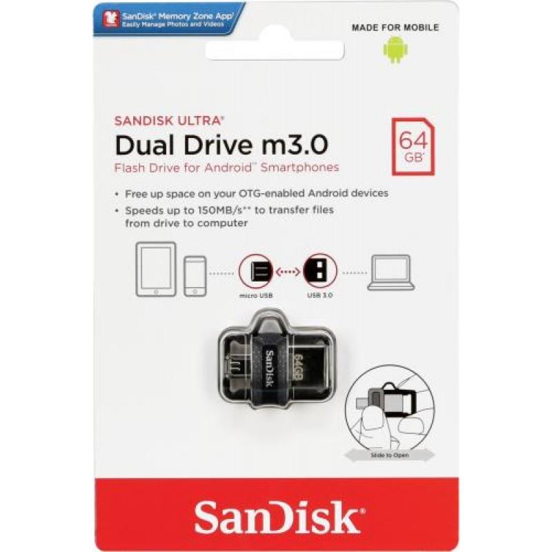 Sandisk Ultra Dual m3.0 USB flash drive 64 GB USB Type-A / Micro-USB 3.0 (3.1 Gen 1) Black,Silver,Transparent