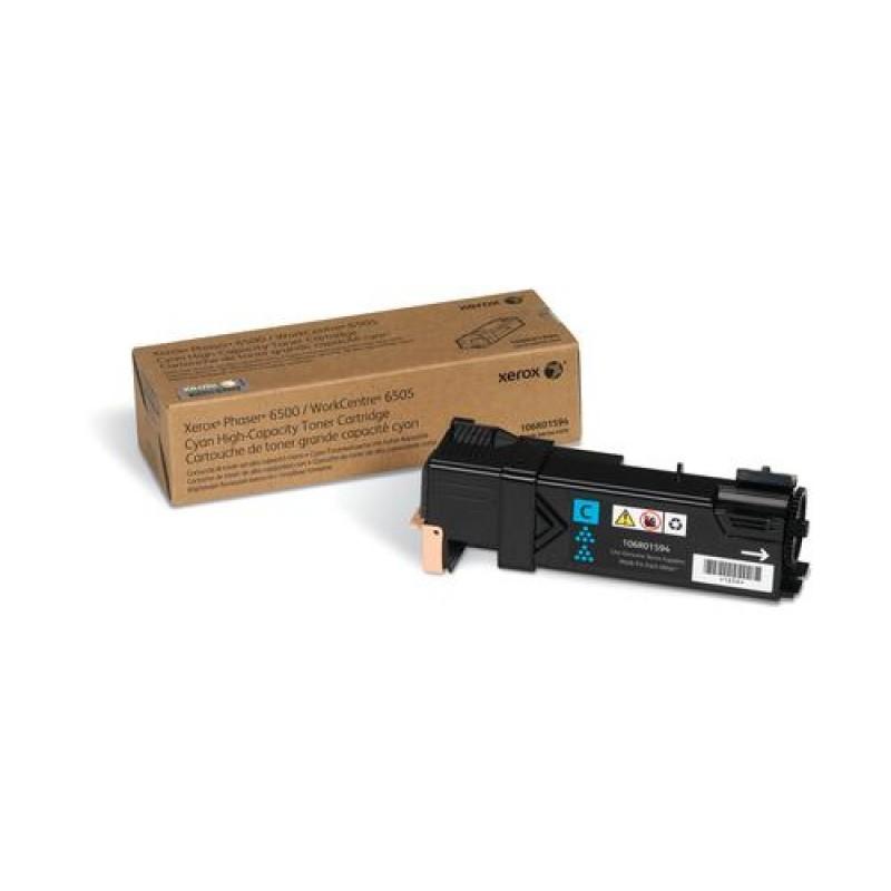 Xerox Phaser 6500/WorkCentre 6505, High Capacity Cyan Toner Cartridge (2,500 Pages) Black