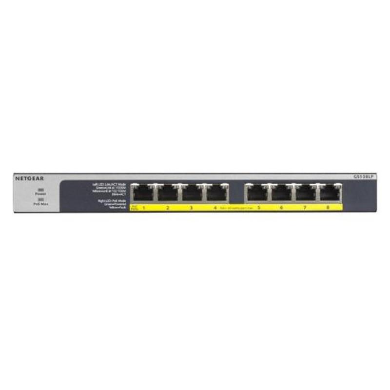 Netgear GS108LP Unmanaged Gigabit Ethernet (10/100/1000) Black,Grey 1U Power over Ethernet (PoE)