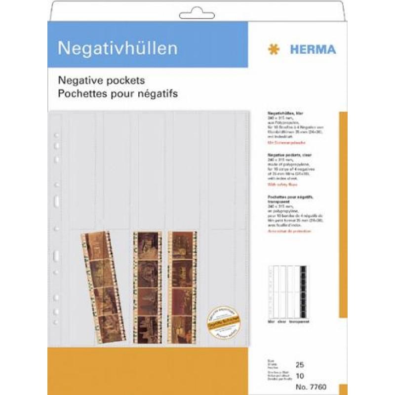 HERMA Negative pockets transparent for 10 x 4 negative stripes 25 pcs. Transparent