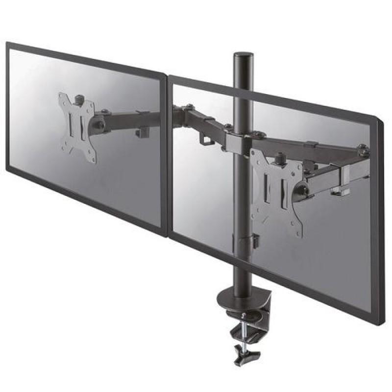 Newstar Full Motion Dual Desk Mount (clamp & grommet) for two 10-27