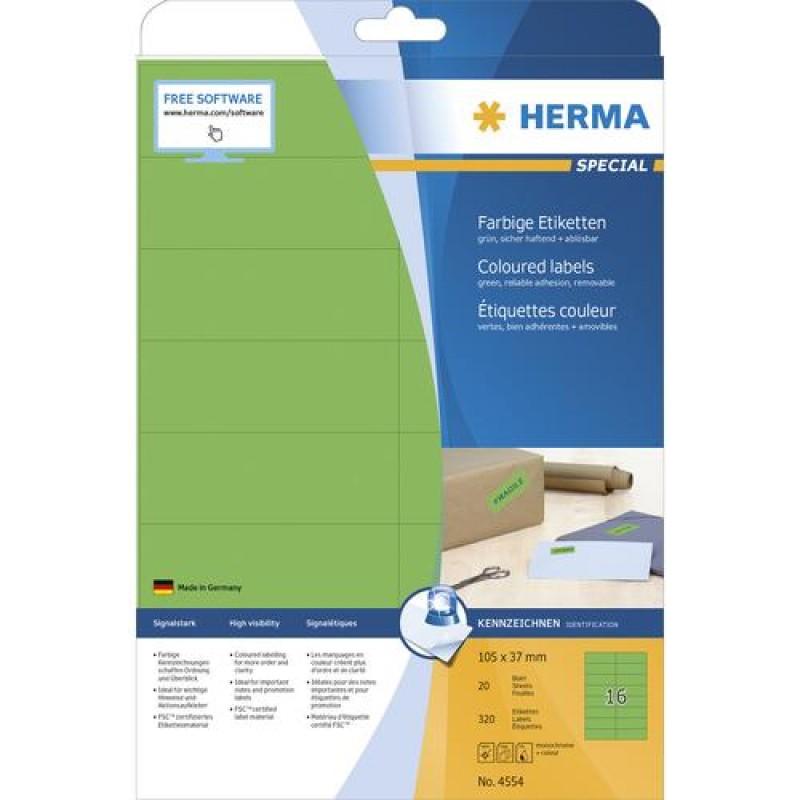 HERMA 4554 self-adhesive label Green Rectangle 320 pc(s)