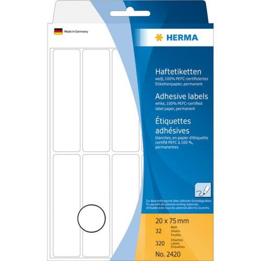 HERMA Multi-purpose labels 20x75 mm white paper matt hand inscription 320 pcs. White