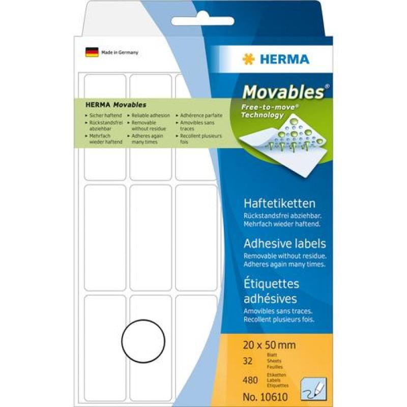 HERMA Multi-purpose labels 20x50 mm white Movables/removable paper matt 480 pcs White