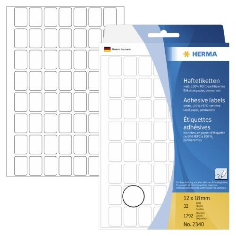 HERMA Multi-purpose labels 12x18 mm white paper matt hand inscription 1792 pcs. White