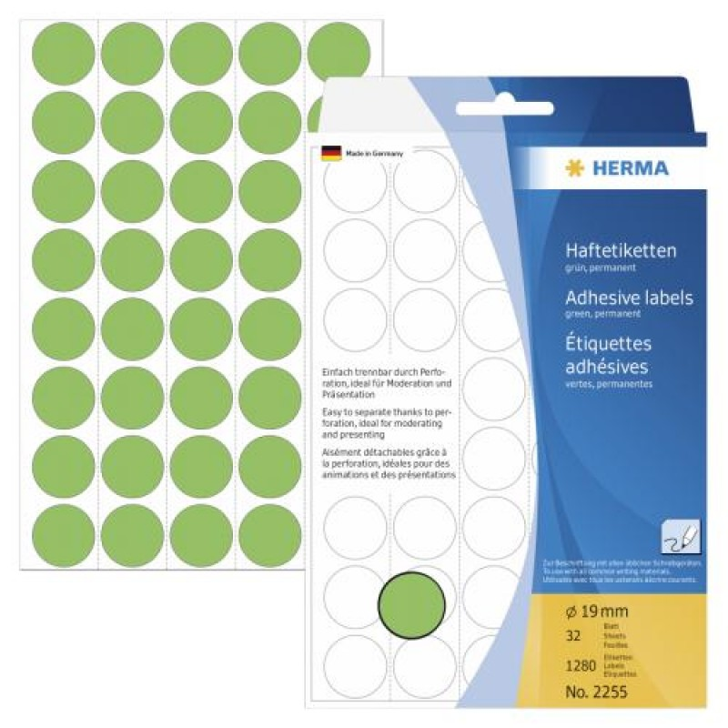 HERMA Multi-purpose labels/colour dots Ø 19 mm round green paper matt backing paper perforated 1280 pcs. Green