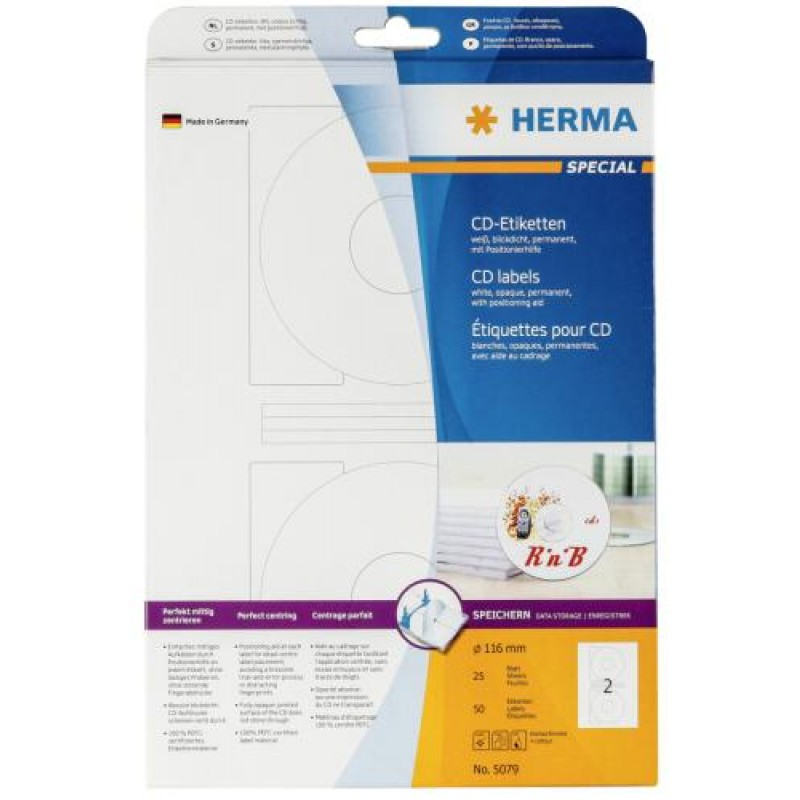 HERMA CD labels A4 Ø 116 mm white paper matt opaque 50 pcs. White