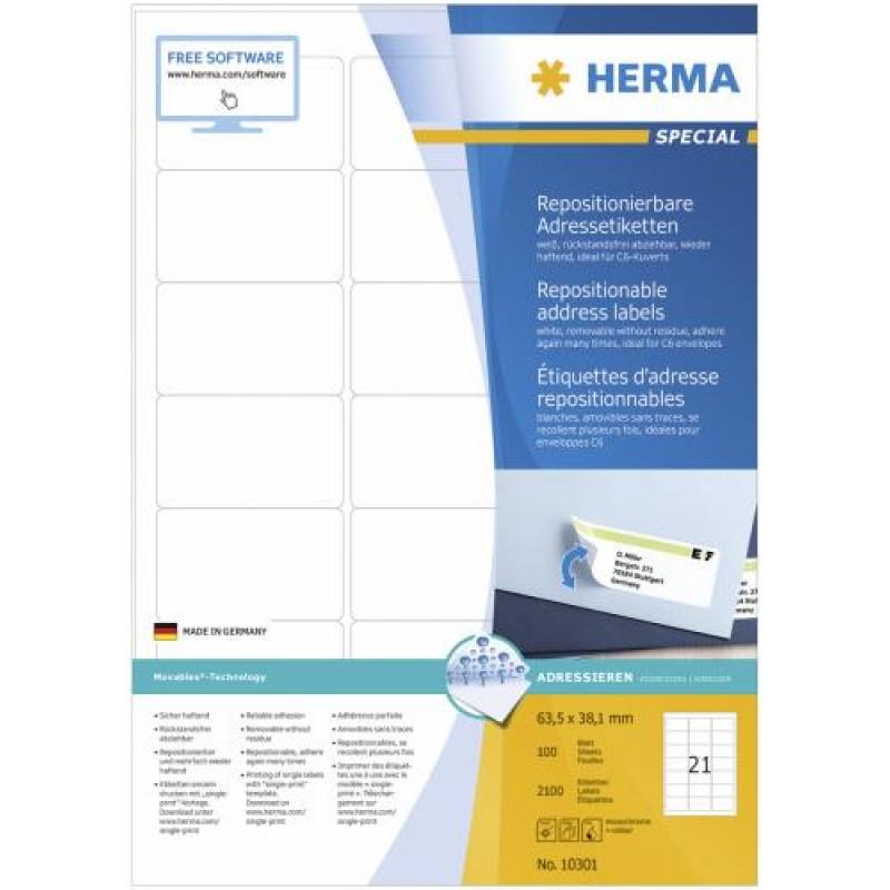 HERMA Repositionable address labels A4 63.5x38.1 mm white Movables paper matt 2100 pcs. White