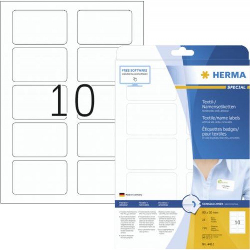 HERMA Name/textile labels A4 80x50 mm separable white removable artificial silk 250 pcs. White