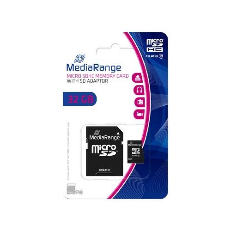 MediaRange 32GB microSDHC memory card Class 10 Black