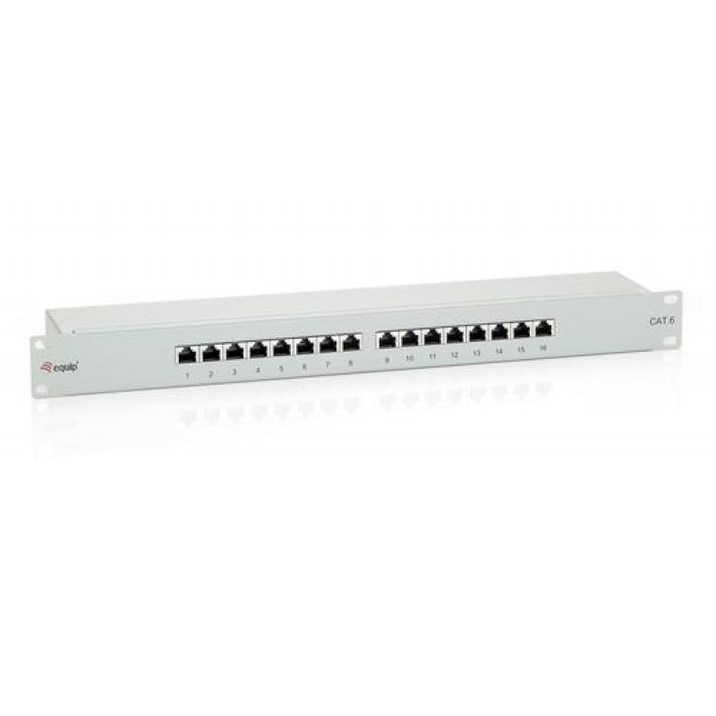 Equip 16-Port Cat.6 Shielded Patch Panel Grey