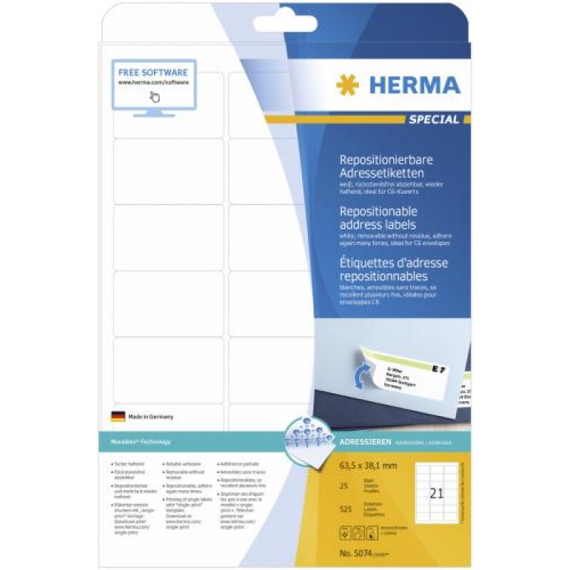 HERMA Repositionable address labels A4 63.5x38.1 mm white Movables paper matt 525 pcs. White