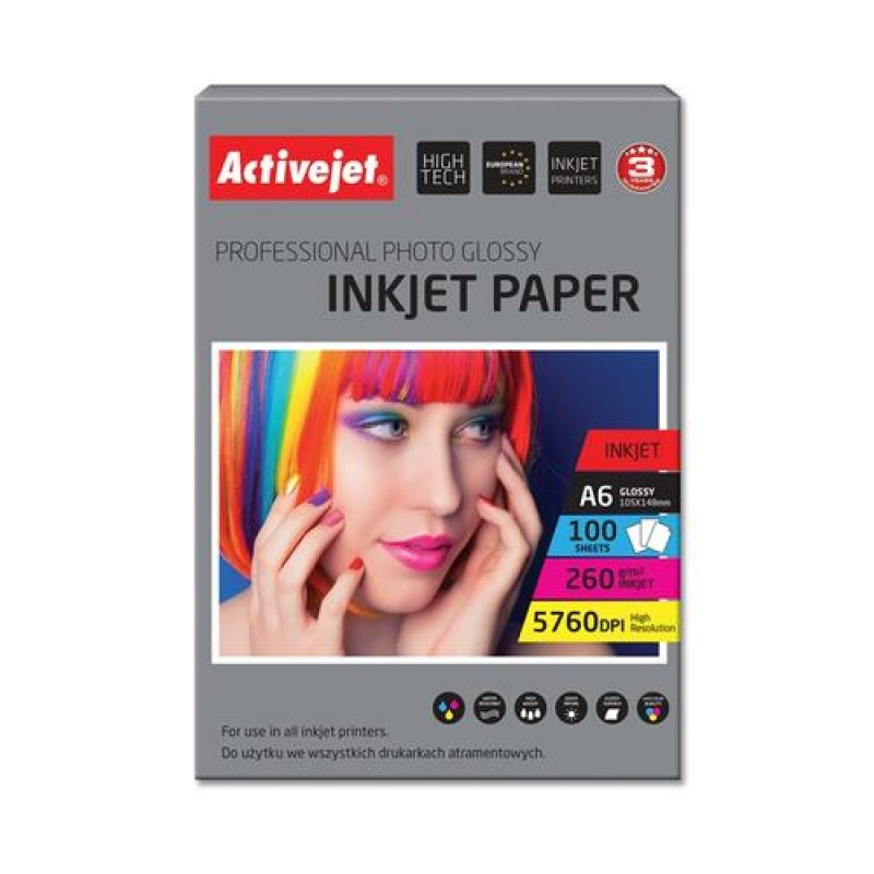 Activejet AP6-260GR100 photo paper for ink printers White