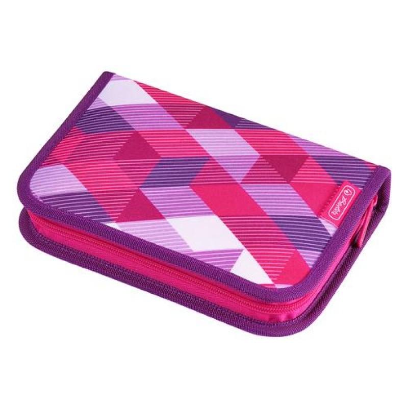 Herlitz Pink Cubes Soft pencil case Polyester Pink,Violet