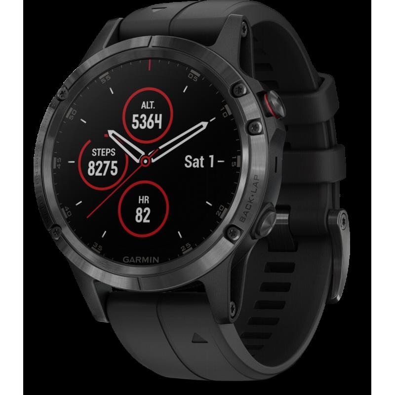 Garmin fenix 5 Plus sport watch Black,Stainless steel 240 x 240 pixels Bluetooth