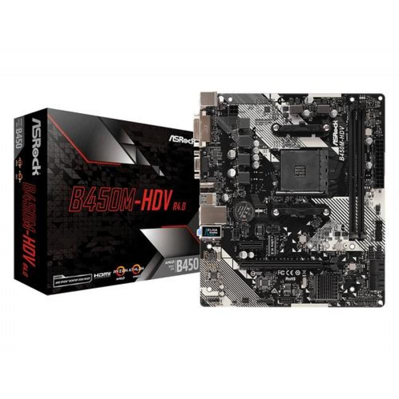 Asrock B450M-HDV R4.0 motherboard Socket AM4 Micro ATX AMD B450