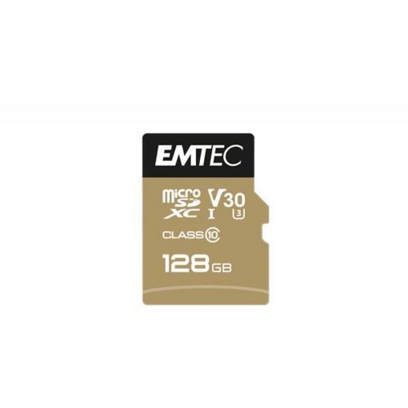 Emtec SpeedIN PRO memory card 128 GB MicroSDXC Class 10 UHS-I Black,Gold
