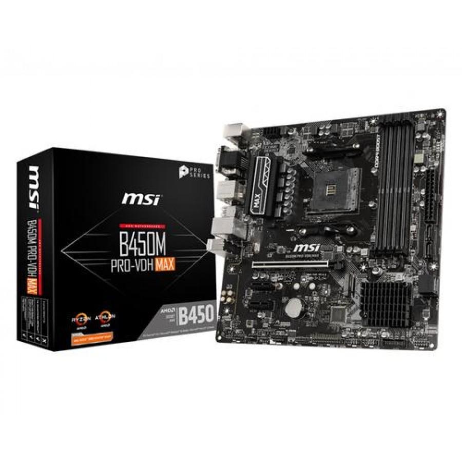 MSI B450M PRO-VDH Max motherboard Socket AM4 Micro ATX AMD B450