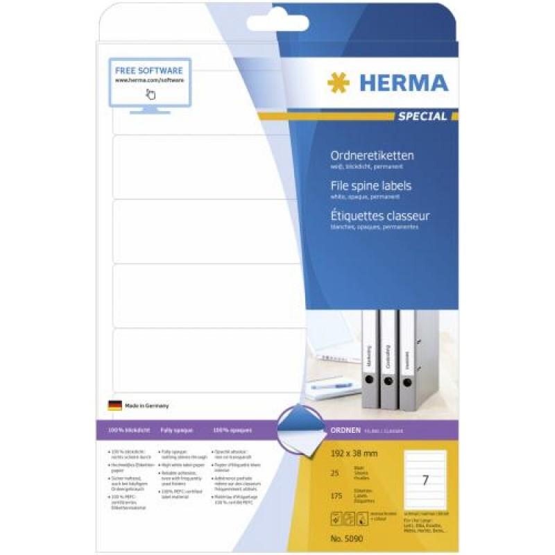 HERMA File labels A4 192x38 mm white paper matt opaque 175 pcs. White