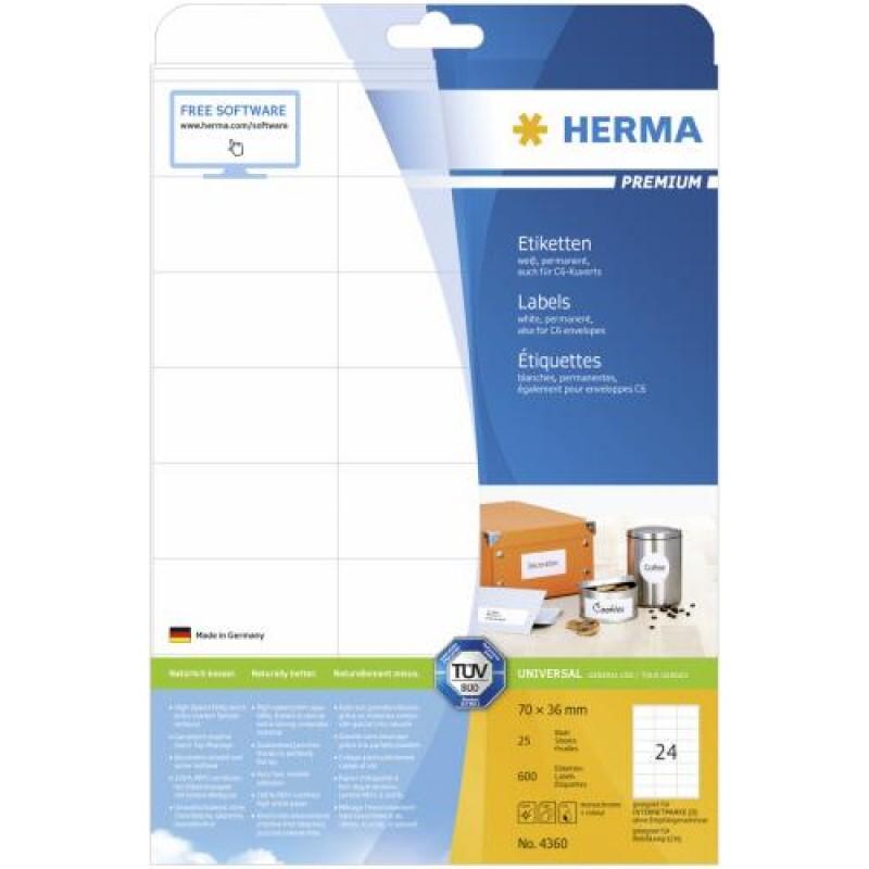 HERMA Labels Premium A4 70x36 mm white paper matt 600 pcs. White
