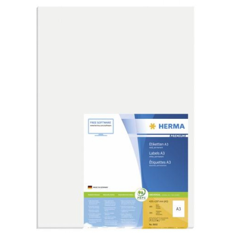 HERMA A3 labels Premium 297x420 mm white paper matt 100 pcs. White
