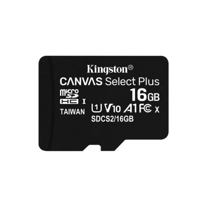 Kingston Technology Canvas Select Plus memory card 16 GB MicroSDHC Class 10 UHS-I Black