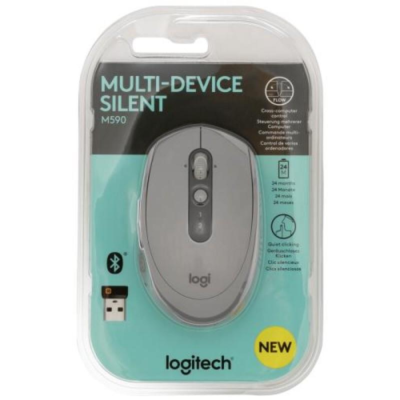 Logitech M590 mice RF Wireless+Bluetooth Optical 1000 DPI Right-hand Grey