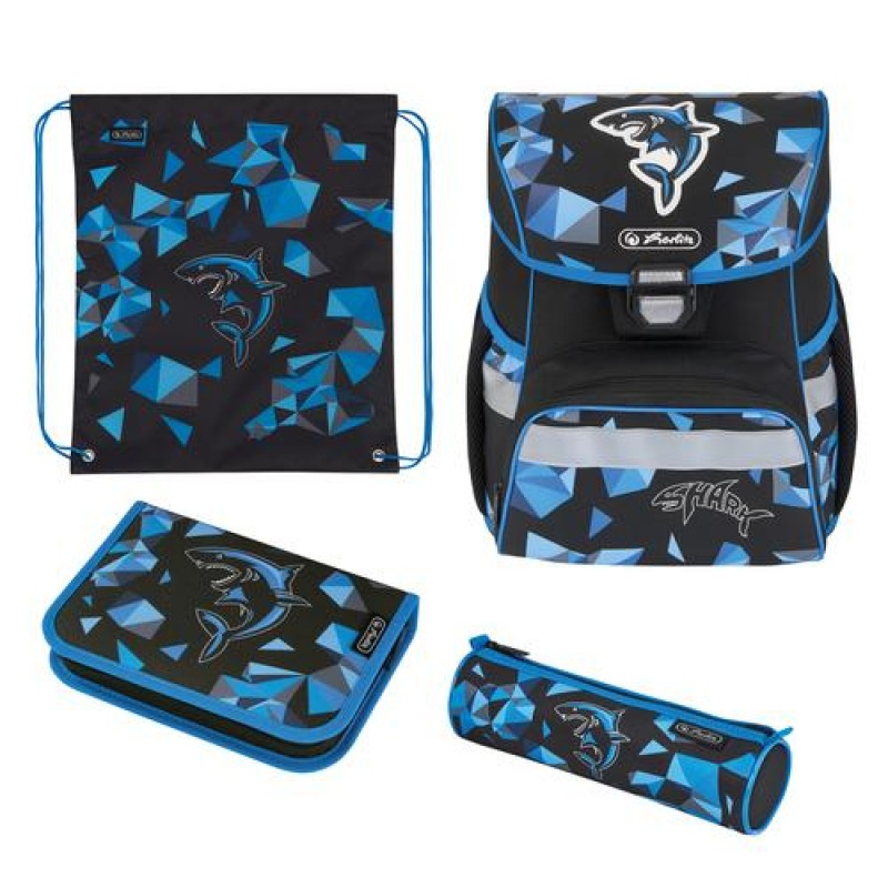 Herlitz Loop Plus Shark school bag set Boy Polyester Black,Blue