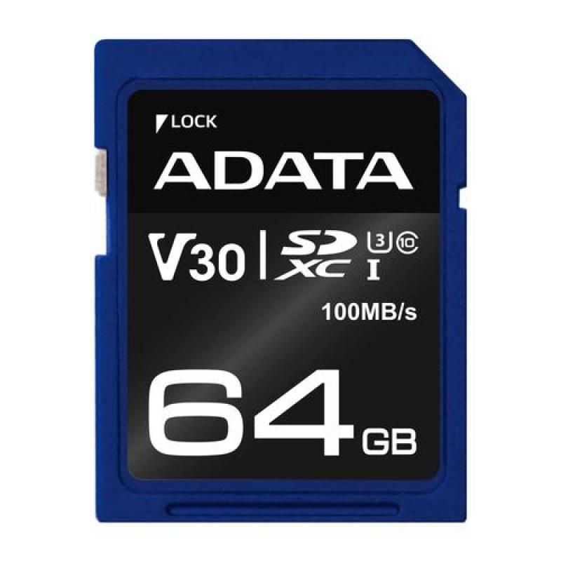 ADATA ASDX64GUI3V30S-R memory card 64 GB SDXC Class 10 UHS-I Black,Blue