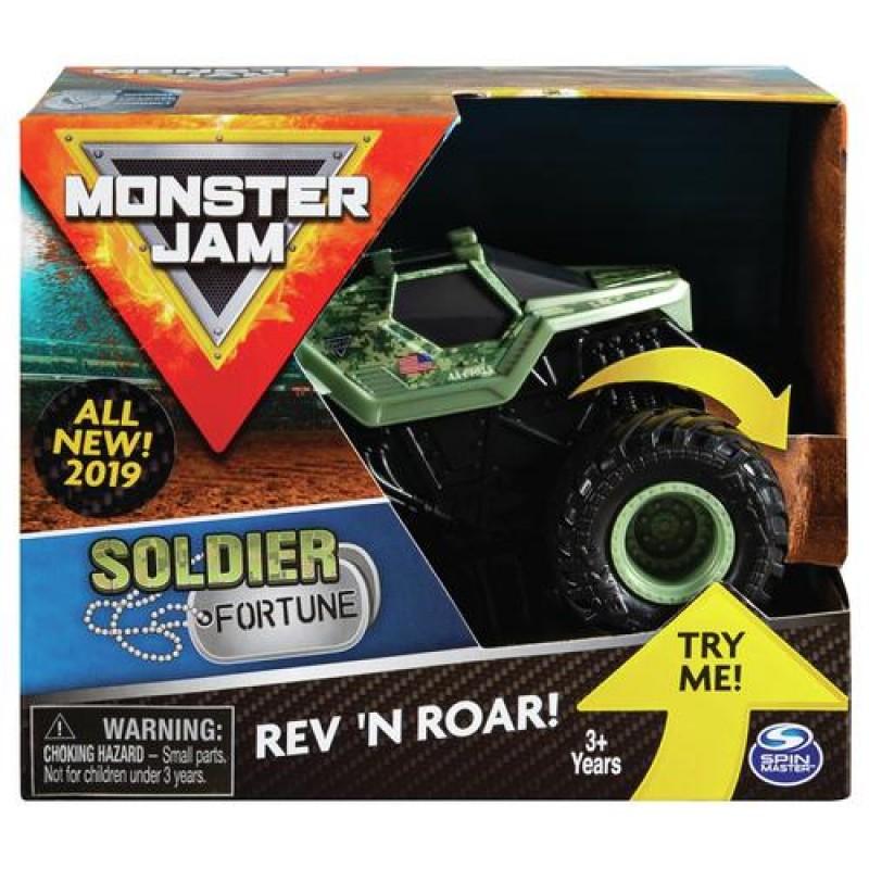 Monster Jam , Official Soldier Fortune Rev 'N Roar Monster Truck, 1:43 Scale Assorted colours
