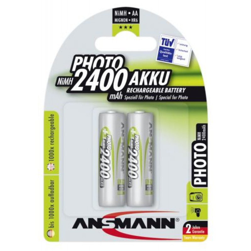 1x2 Ansmann NiMH rech. battery Mignon AA 2400 mAh PHOTO