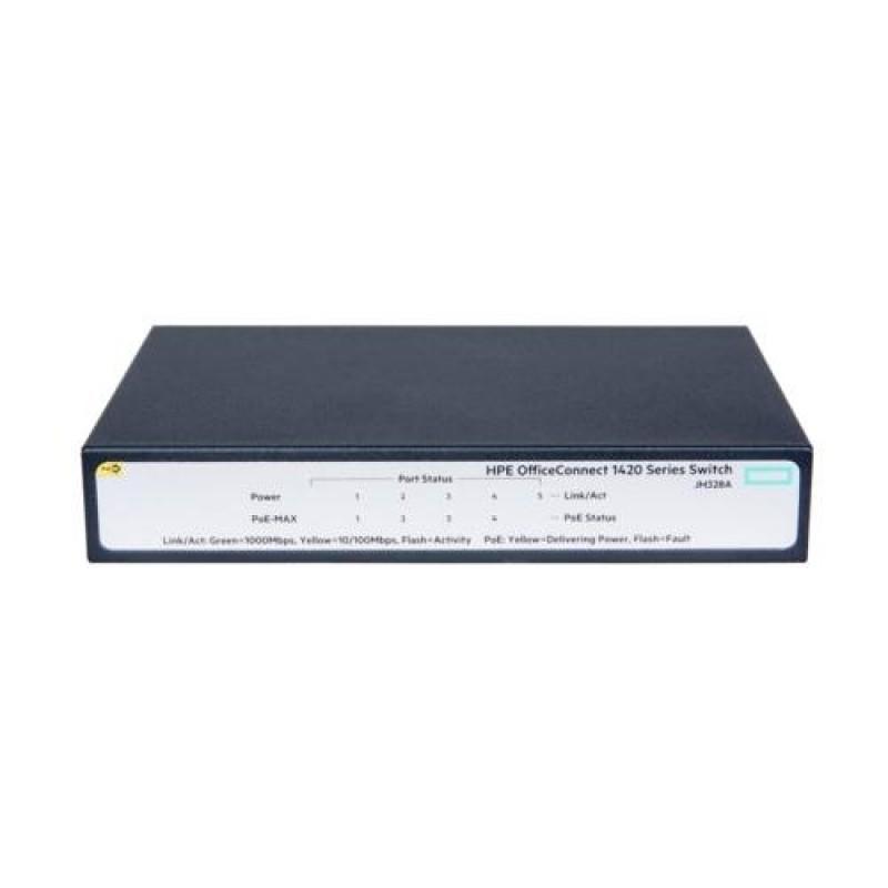 Hewlett Packard Enterprise OfficeConnect 1420 5G PoE+ (32W) Unmanaged L2 Gigabit Ethernet (10/100/1000) Grey 1U Power over Ethernet (PoE)